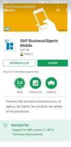 Le screenshot des mises à jour de SAP BusinessObjects Mobile
